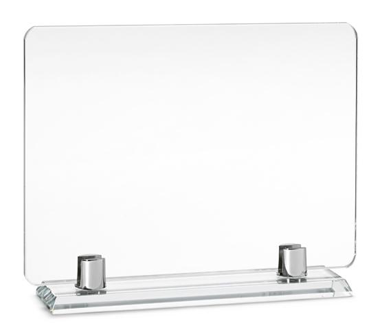 Porta targa in vetro con base in vetro serie VT 35