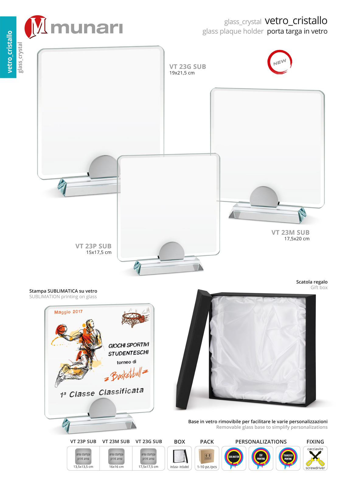 Sublimation glass plaque holder with glass base series VT 23 SUB
