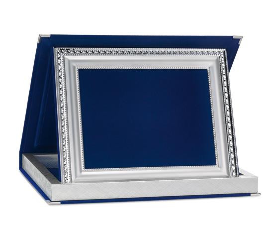 Astucci per targhe in velluto blu con profilo Siver Plated AS 12 P3