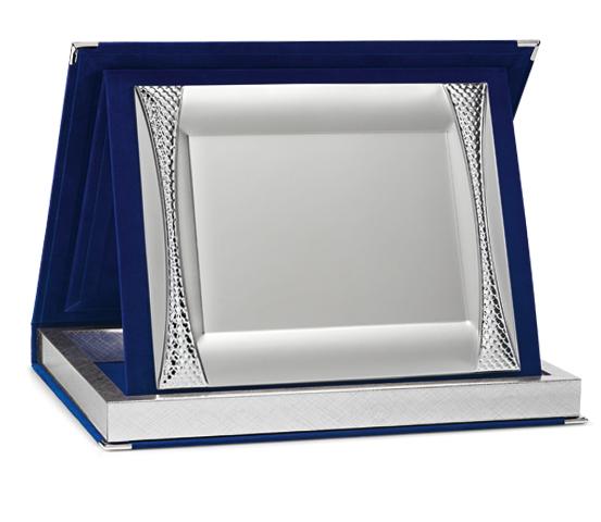 Astucci per targhe in velluto blu con targa Siver Plated serie AS 10 P4