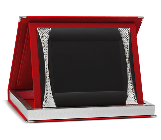 Astucci per targhe in velluto rosso con targa Siver Plated AS 12 P5