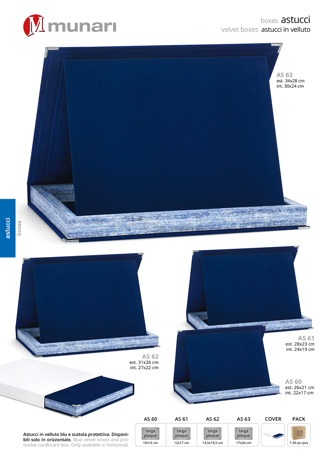 Astucci per targhe in velluto blu serie AS 60