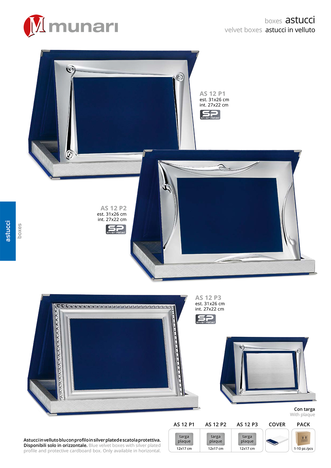 Blue Velvet Boxes AS 12 P2 with Silver Plated Profile