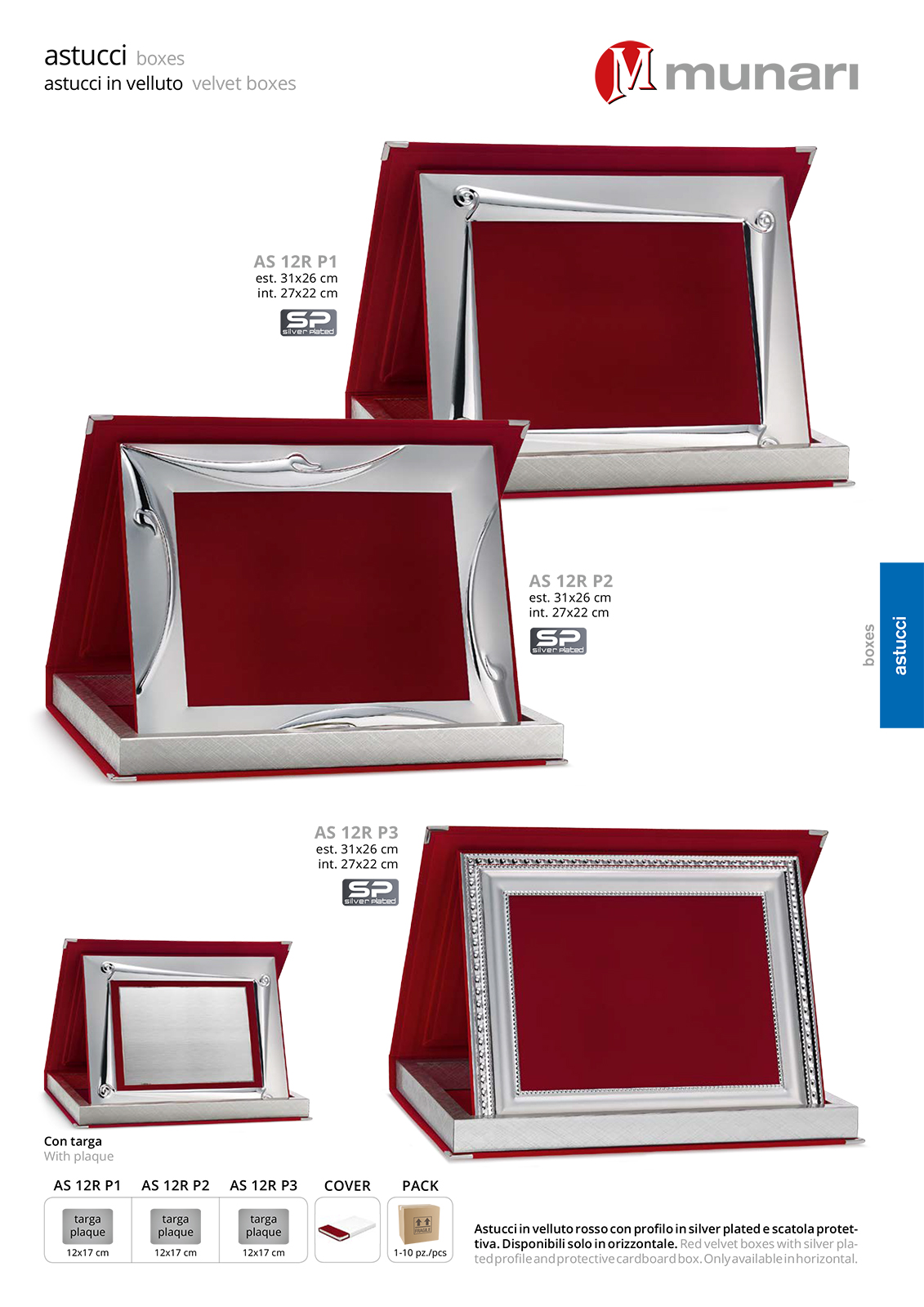 Red Velvet Boxes AS 12R P1 with Silver Plated Profile