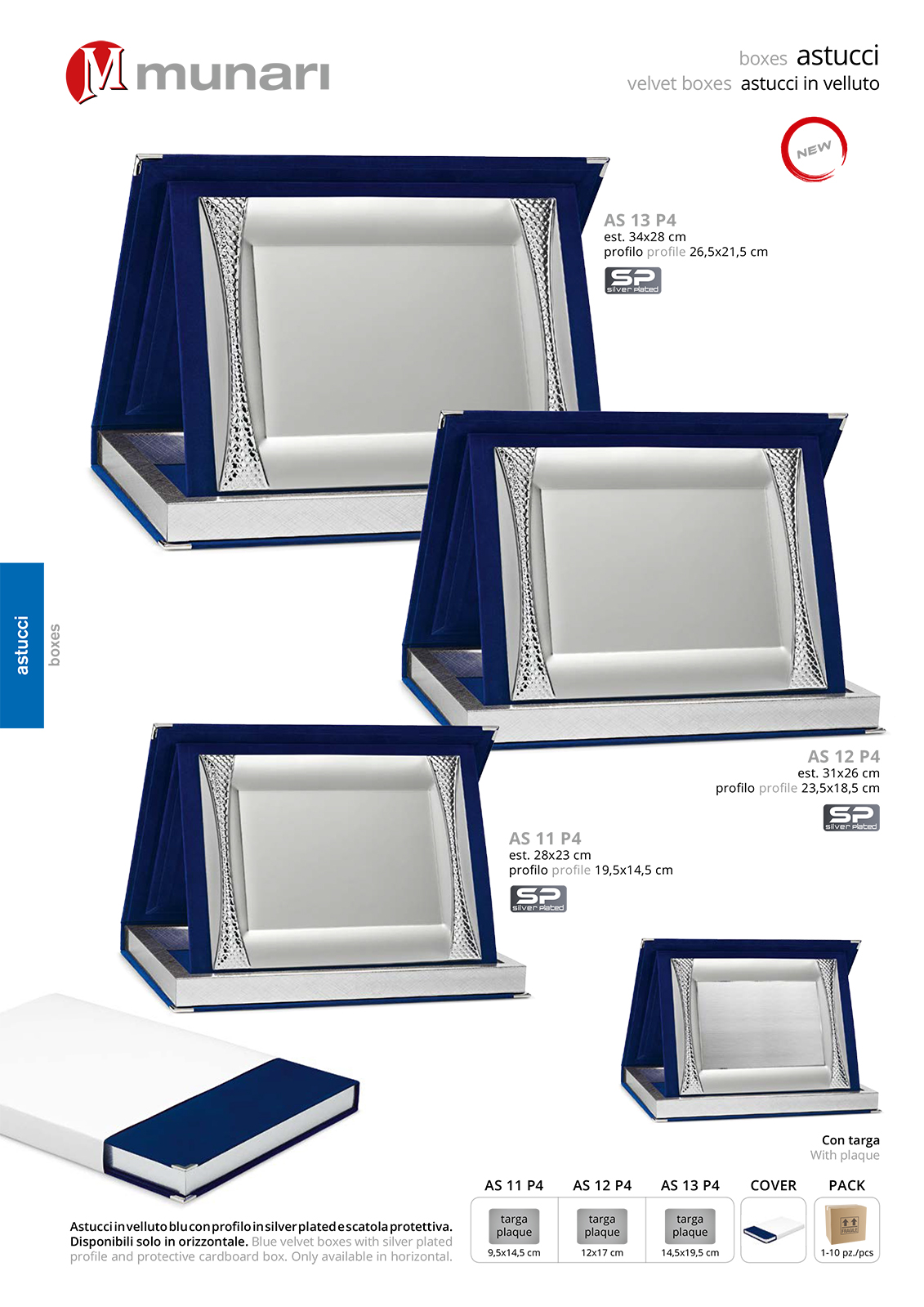 Blue Velvet Boxes series AS 10 P4 with Silver Plated Plaque