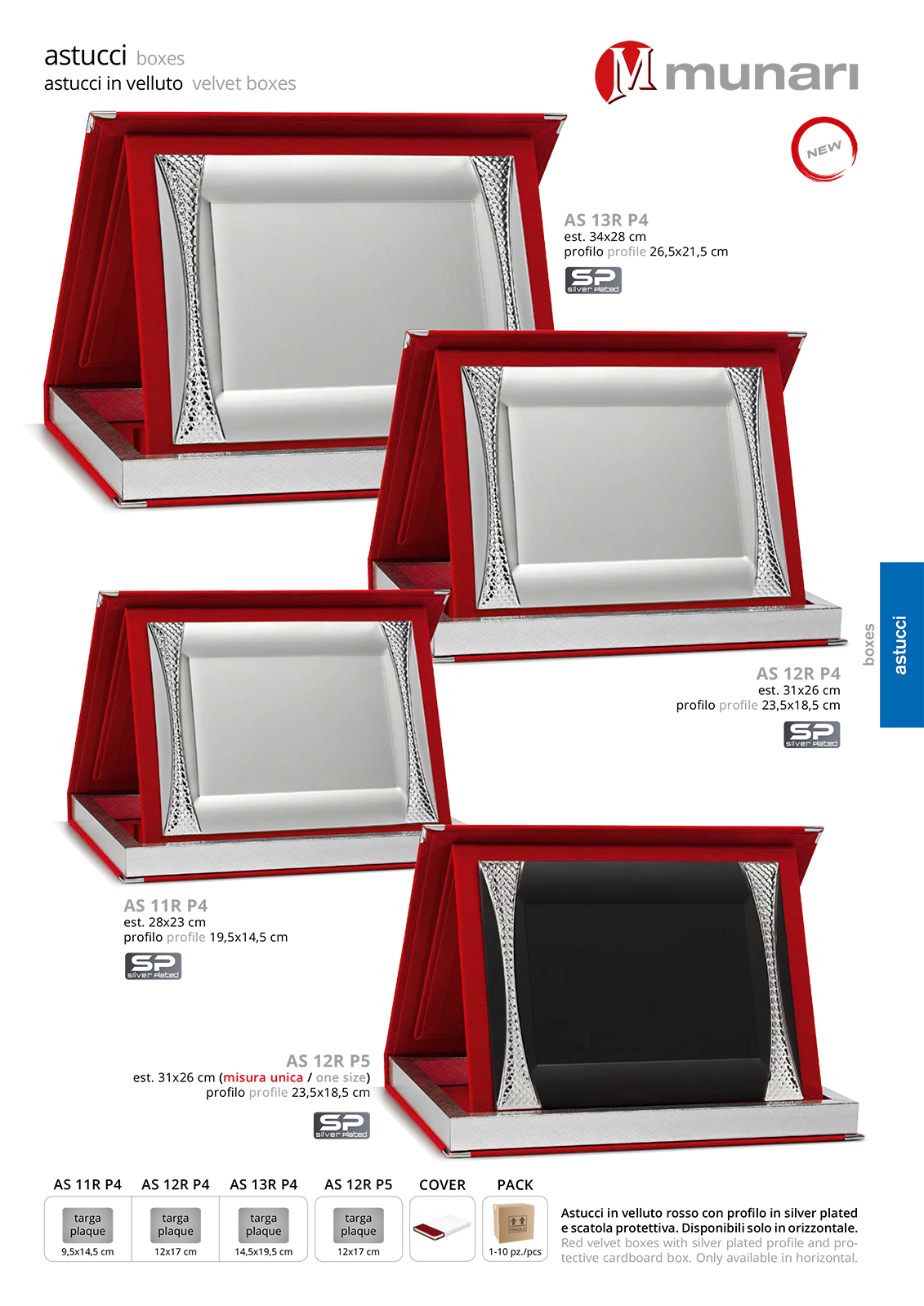 Red Velvet Boxes series AS 10R P4 with Silver Plated Plaque