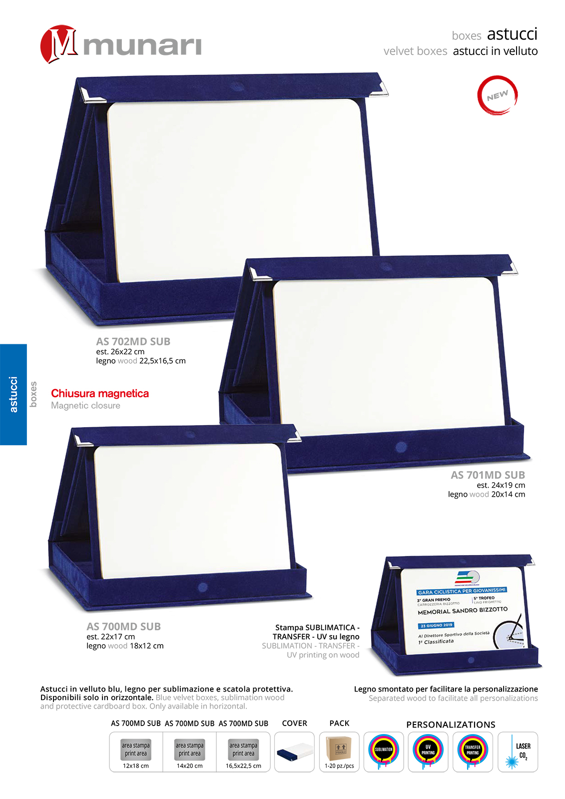 Blue velvet boxes series AS 700 with sublimation wood