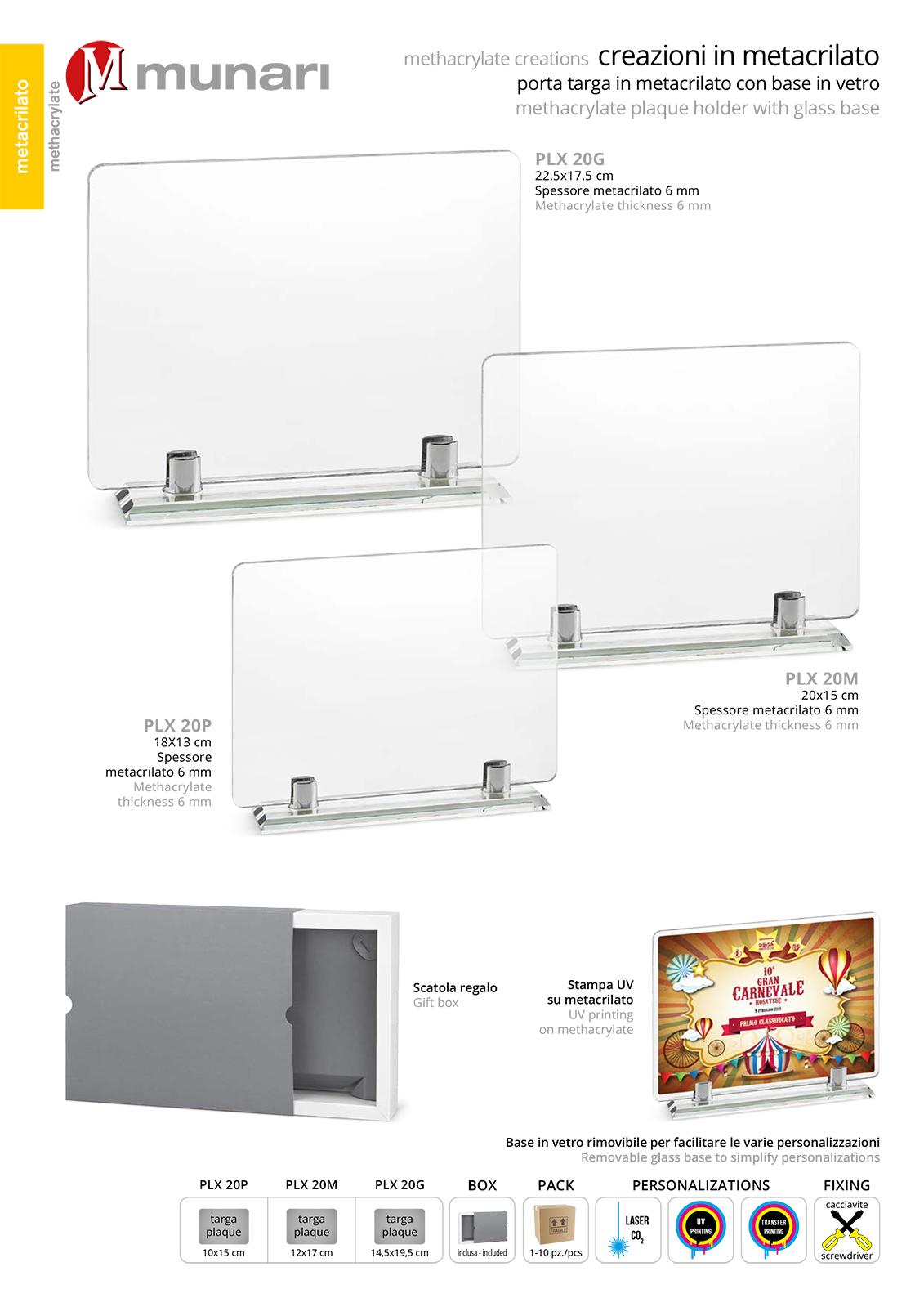 PLX 20 Transparent plexiglas plaque with glass base