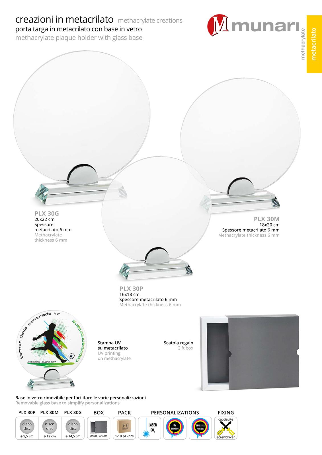 PLX 30 Transparent plexiglas plaque with glass base