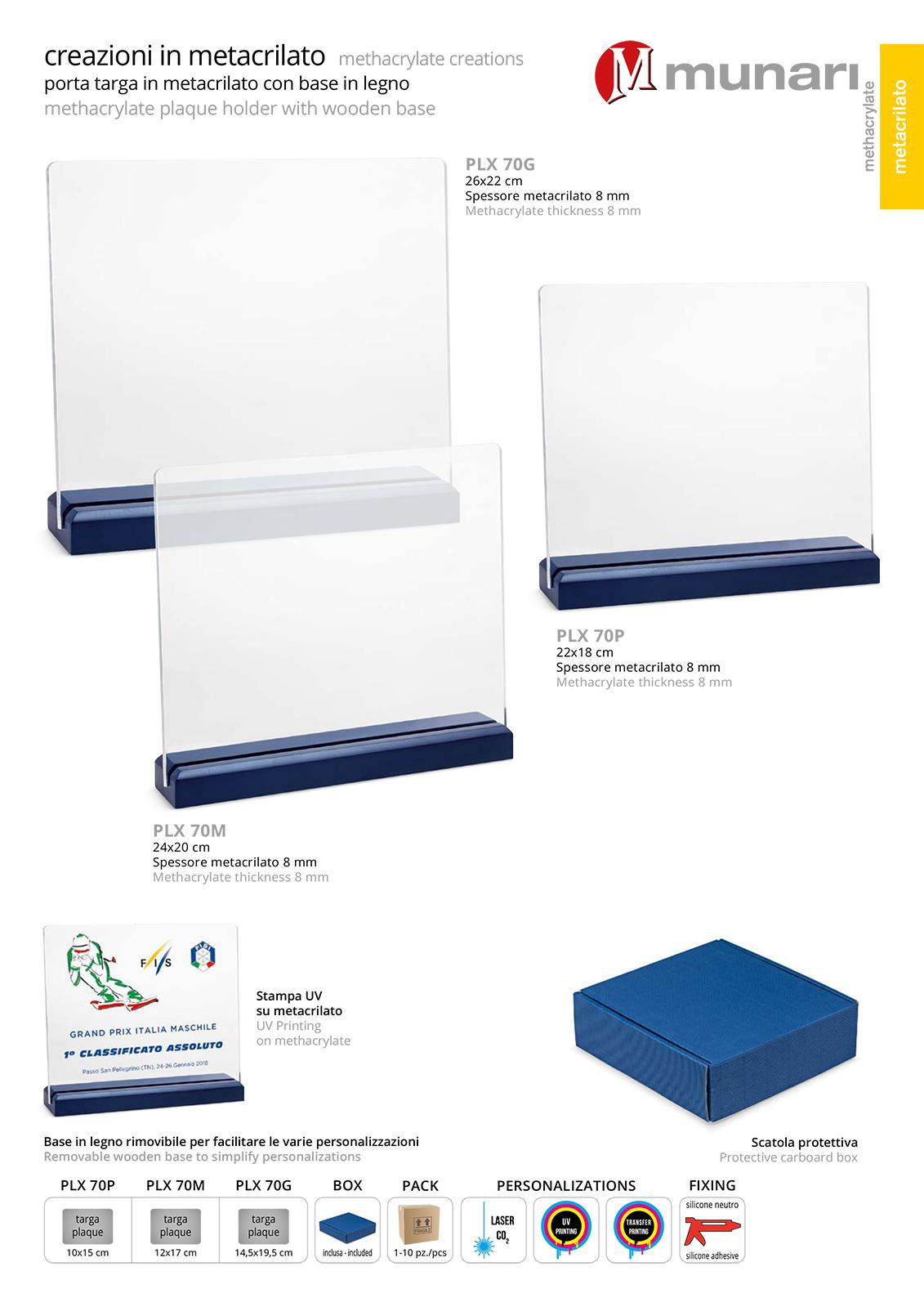 PLX 70 Transparent plexiglas plaque with wooden base