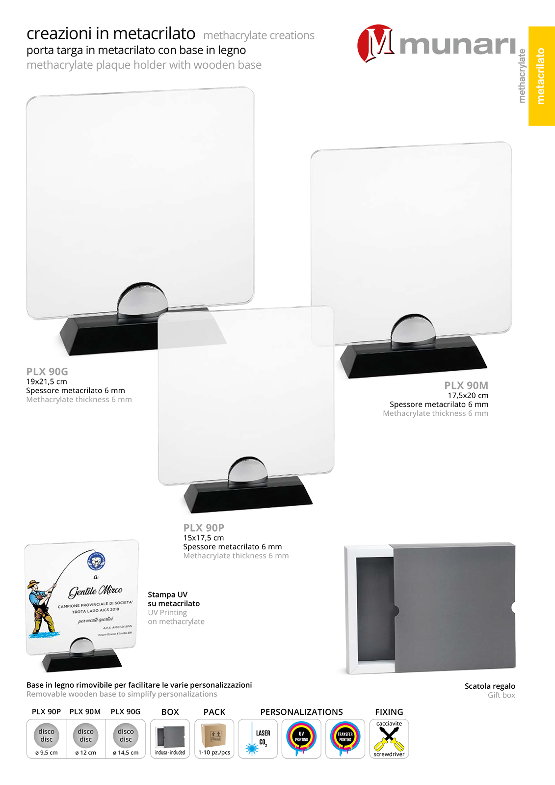 PLX 90 Targa in plexiglass trasparente con base in legno