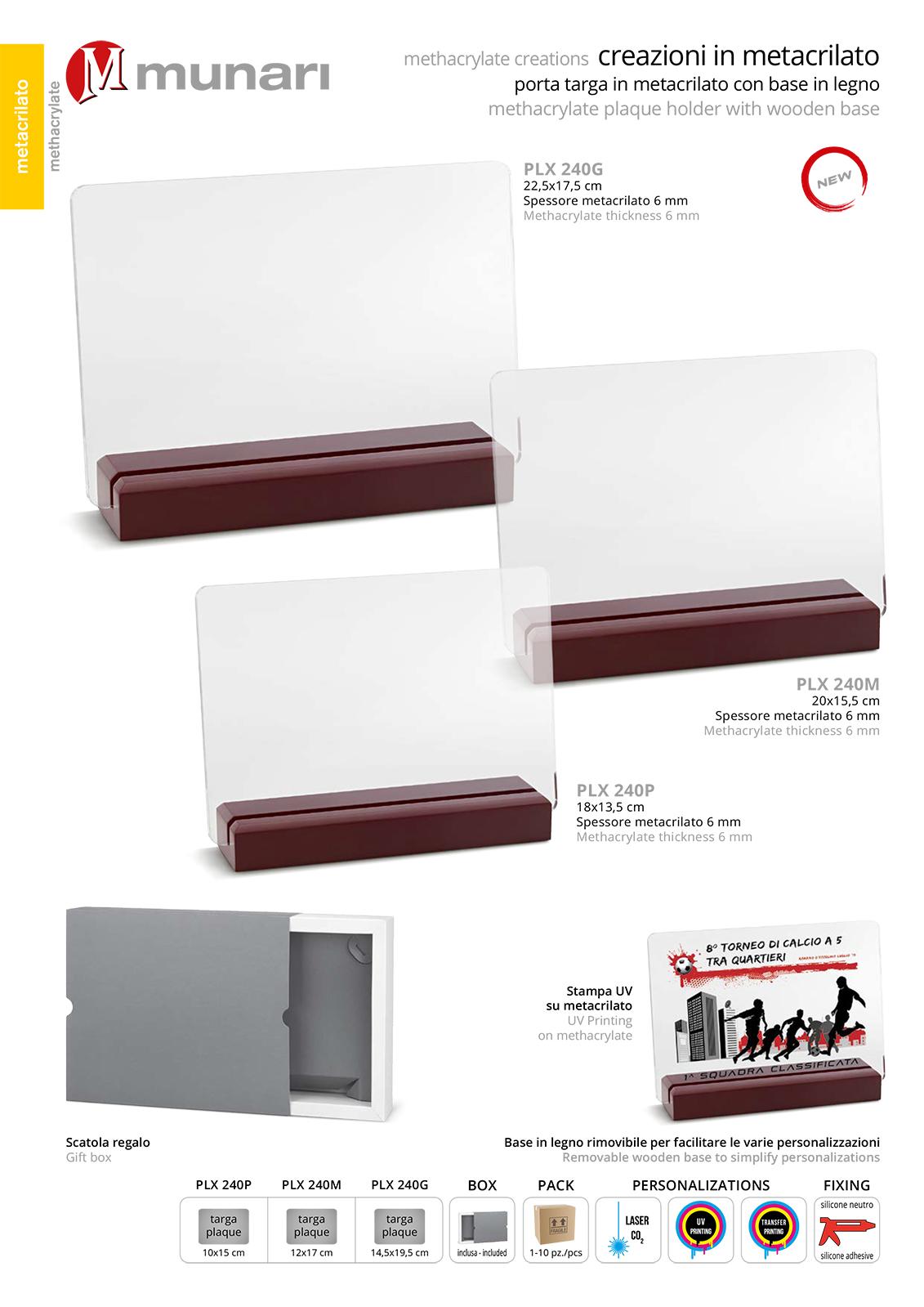 PLX 240 Transparent plexiglas plaque with wooden base