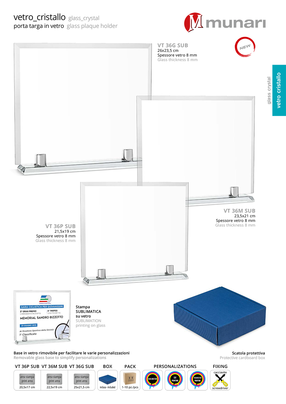 Sublimation glass plaque holder with glass base series VT 36 SUB