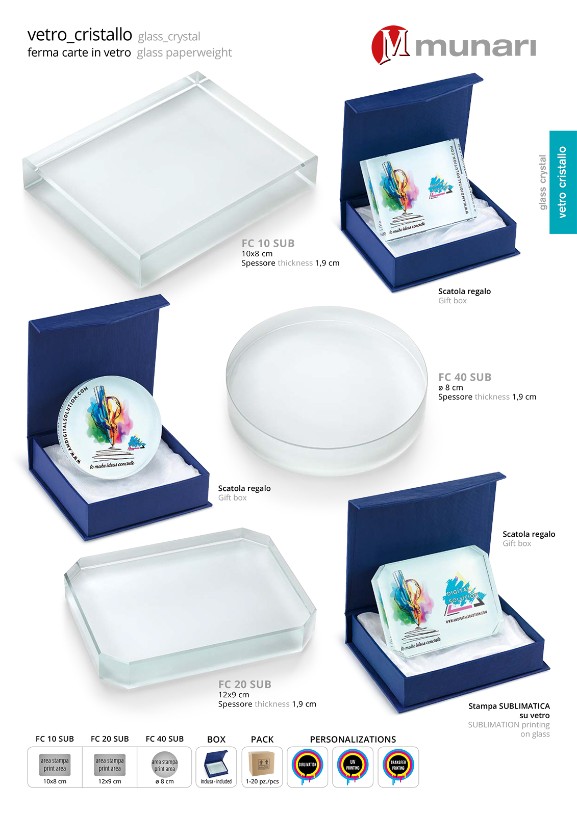 Sublimation glass Paperweigh FC 20 SUB