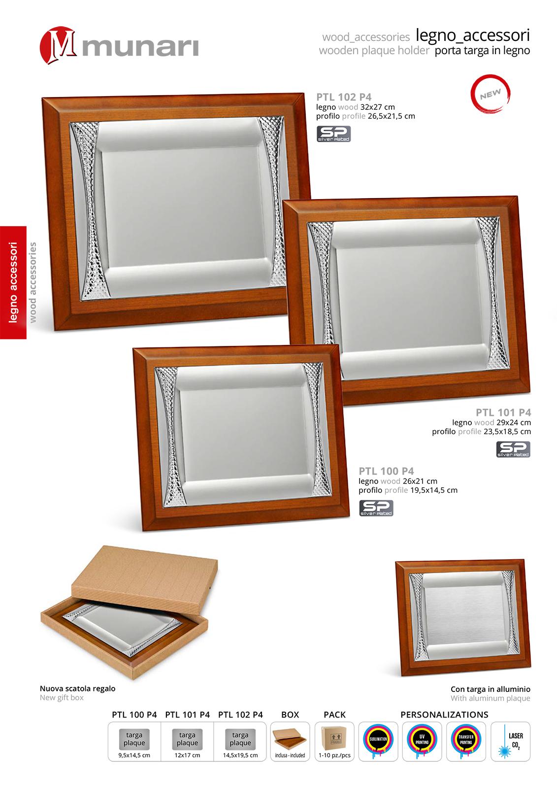 Porta targa in legno serie PTL 100 P4