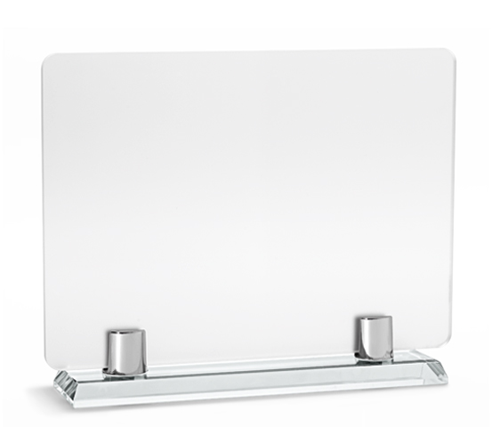 PLX 120 Frosted plexiglas plaque with glass base