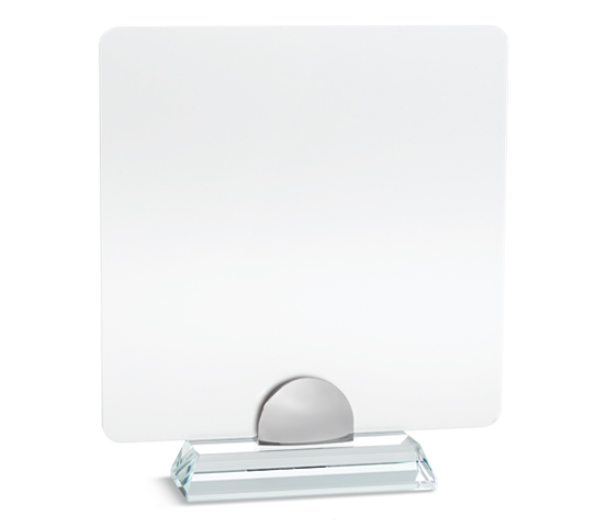 PLX 140 Frosted plexiglas plaque with glass base