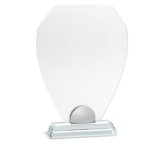 PLX 150 Frosted plexiglas plaque with glass base