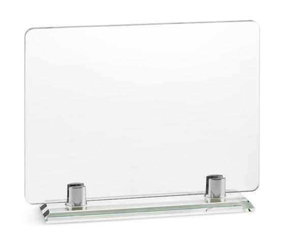 PLX 20 Targa in plexiglass trasparente con base in vetro