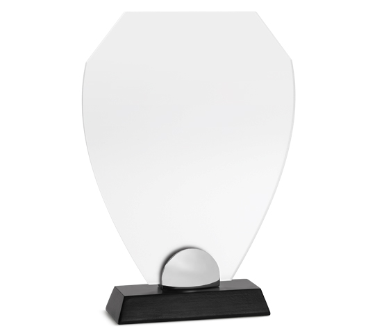 PLX 230 Frosted plexiglas plaque with wooden base