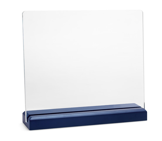 PLX 70 Targa in plexiglass trasparente con base in legno
