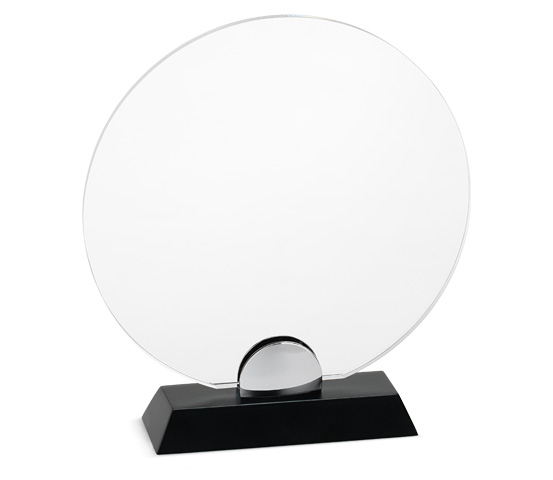 PLX 80 Targa in plexiglass trasparente con base in legno